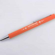 pomarańczowy długopis z lustrzanym grawerem