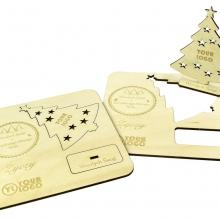 rozkładana kartka świąteczna z drewna