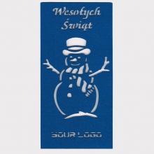 kartka świąteczna z filcu niebieska