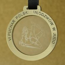 medal judo z pleksi i laminatem grawerskim