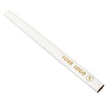biały stolarski ołówek z logo