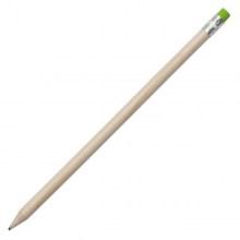 drewniany ołówek z zieloną gumką